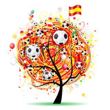 Football tree design, Spanish flag Royalty Free Stock Photo