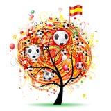 Football tree design, Spanish flag Royalty Free Stock Photo