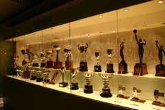 Football trophies in Real Madrid exhibition royalty free stock photos