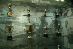 Football trophies in Real Madrid exhibition Stock Photography
