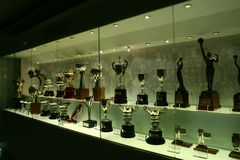 Football trophies in Real Madrid exhibition royalty free stock image