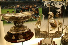 Football trophies in Real Madrid exhibition stock image