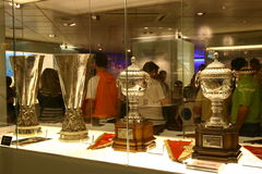 Football trophies in Real Madrid exhibition royalty free stock photo