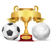 Football trophy award with golden ribbon and soccer balls Stock Image