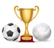 Football trophy award and soccer balls on white Royalty Free Stock Images
