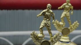 Football trophy, awards for competitions Champions League Golden statuette.  stock video