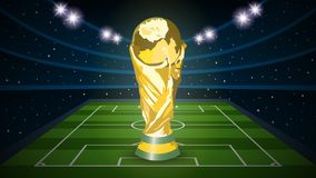Football trophy cup on empty football field arena stadium. Vector illustration Royalty Free Stock Image