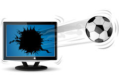 Football with tv Stock Photography