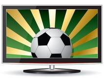 Football tv. Soccer ball on the screen plasma TV Royalty Free Stock Photo