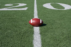 Football with the Twenty Beyond. American Football with the Twenty Yard Line Beyond Stock Photo