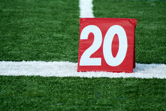 Football twenty yard marker Stock Images