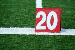 Football twenty yard marker Stock Images