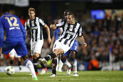 Football UEFA Champions League Chelsea v Juventus. LONDON, ENGLAND. September 19 2012 Juventus's Italian defender Giorgio Chiellini kicks the ball  during the Royalty Free Stock Photo