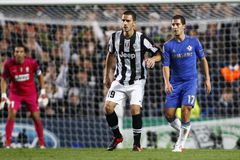 Football UEFA Champions League Chelsea v Juventus. LONDON, ENGLAND. September 19 2012 Juventus's Italian defender Leonardo Bonucci and Chelsea's Belgian Stock Photography