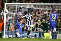 Football UEFA Champions League Chelsea v Juventus. LONDON, ENGLAND. September 19 2012 Juventus's Italian forward Fabio Quagliarella shoots at the Chelsea goal Royalty Free Stock Photography