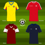 Football uniform template for European football tournament 2016. Group A. Soccer or Football uniform template for European football tournament 2016. Group A Stock Images