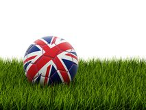 Football with united kingdom flag. On grass stock illustration