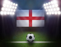 Football with United Kingdom Flag in stadium. Stock Photography