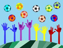 Football uniting all countries and peoples. Many hands of different colors. The fingers show the figures. At the top fly colored balls stock illustration