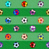 Football uniting all countries and peoples. Seamless pattern. consists of balls for football. different size and bright colors royalty free illustration