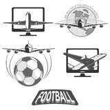 Football uniting all countries and peoples. Soccer ball and a stylized image of the globe. flies a large passenger plane. isolate on white background royalty free illustration
