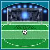 Football, uniting the whole world. Football field . on the grass the markings and the gate stand. next to the ball lies royalty free illustration