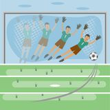 Football, uniting the whole world. Football field. there is a gate. the goalkeeper jumped to the side. flies the ball. drawing in the style of flat vector illustration