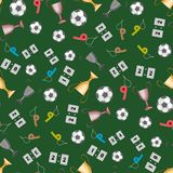 Football, uniting the whole world and the people. A set of accessories for playing football, a whistle, a cup. there is a ball and other items. seamless texture vector illustration