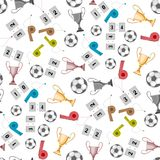 Football, uniting the whole world and the people. A set of accessories for playing football, a whistle, a cup. there is a ball and other items. seamless texture royalty free illustration
