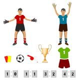 Football, uniting the whole world. Two goalkeepers in different poses. in a set of soccer accessories. isolate on a white background royalty free illustration