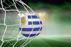 Football in uruguay colours at back of net Royalty Free Stock Images