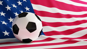 Football usa. Soccer ball on a flag usa Royalty Free Stock Photo