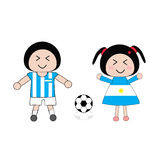 Football. Vector boy and girl in Argentina football uniform Stock Photography