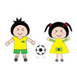 Football. Vector boy and girl in Brazil football uniform Stock Photos