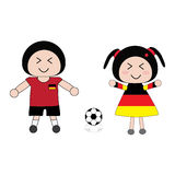 Football. Vector boy and girl in Germany football uniform Royalty Free Stock Images