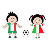 Football. Vector boy and girl in Italy football uniform Stock Photography