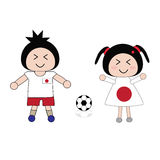 Football. Vector boy and girl in Japan football uniform Royalty Free Stock Photos