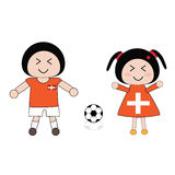 Football. Vector boy and girl in Switzerland football uniform Stock Images