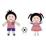 Football. Vector boy and girl in United States of America football uniform Stock Image