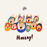 Football vector fans, cute colorful illustration, abstract greeting card. Goal Hooray. Football vector fans, cute colorful illustration, vector illustration stock illustration