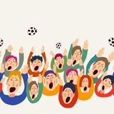 Football vector fans, cute colorful seamless border, abstract greeting card. Goal Hooray. Football vector fans, cute colorful seamless border, vector vector illustration
