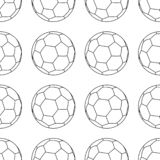 Football vector icon, emblem soccerball. Vector illustration isolated in white background. Line style. Seamless football pattern vector illustration