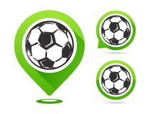 Football vector icons isolated on white. Football goal. Set of football icons. Football map pointer. Soccerl ball. stock illustration