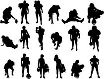 Football Vector Silhouettes Stock Photo