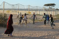 Football is very popular among Somali boy. HARGEISA, SOMALIA - JANUARY 8, 2010: Football is very popular among Somali boy. City of Hargeysa in Somalia, capital royalty free stock image