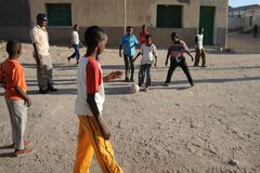 Football is very popular among Somali boy. HARGEISA, SOMALIA - JANUARY 8, 2010: Football is very popular among Somali boy. City of Hargeysa in Somalia, capital royalty free stock images