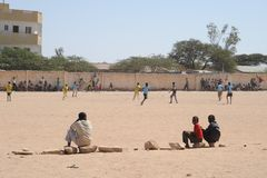 Football is very popular among Somali boy. Royalty Free Stock Images