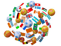 Football, volleyball, basketball balls Stock Image