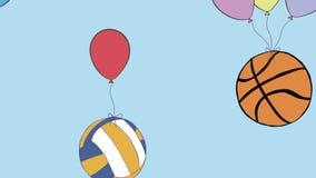 Sports balls on balloons royalty free illustration