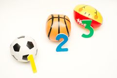 Football vs basketball vs rugby Royalty Free Stock Images